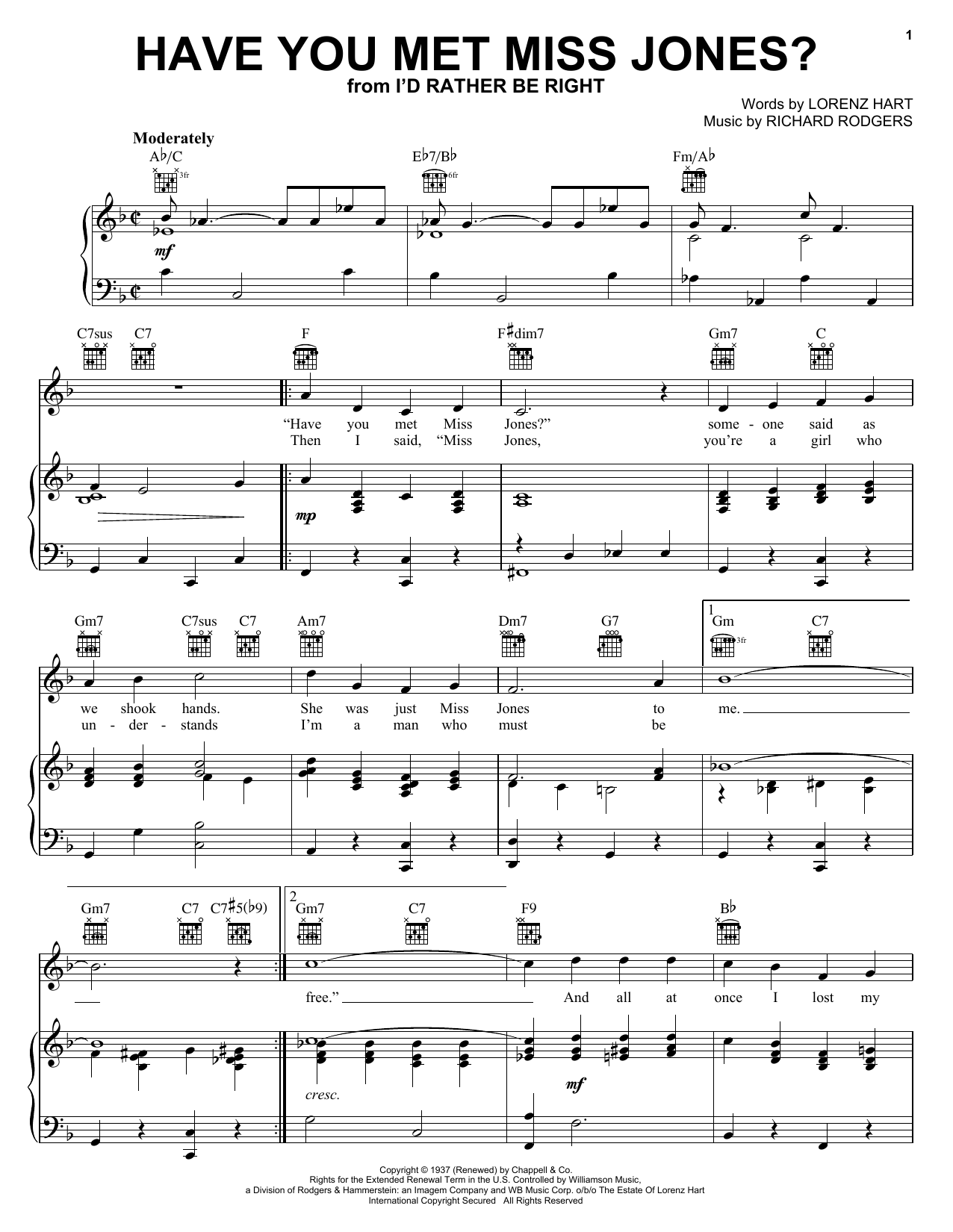 Rodgers & Hart Have You Met Miss Jones? sheet music preview music notes and score for Guitar Tab including 2 page(s)