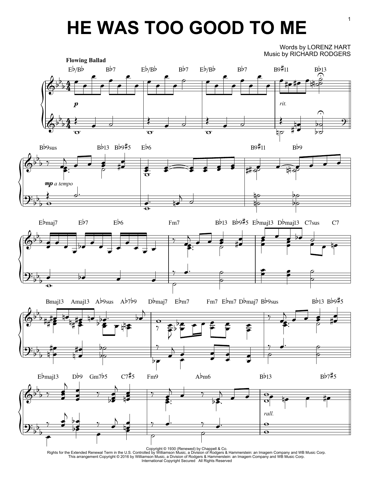 Download Rodgers & Hart 'He Was Too Good To Me' Digital Sheet Music Notes & Chords and start playing in minutes