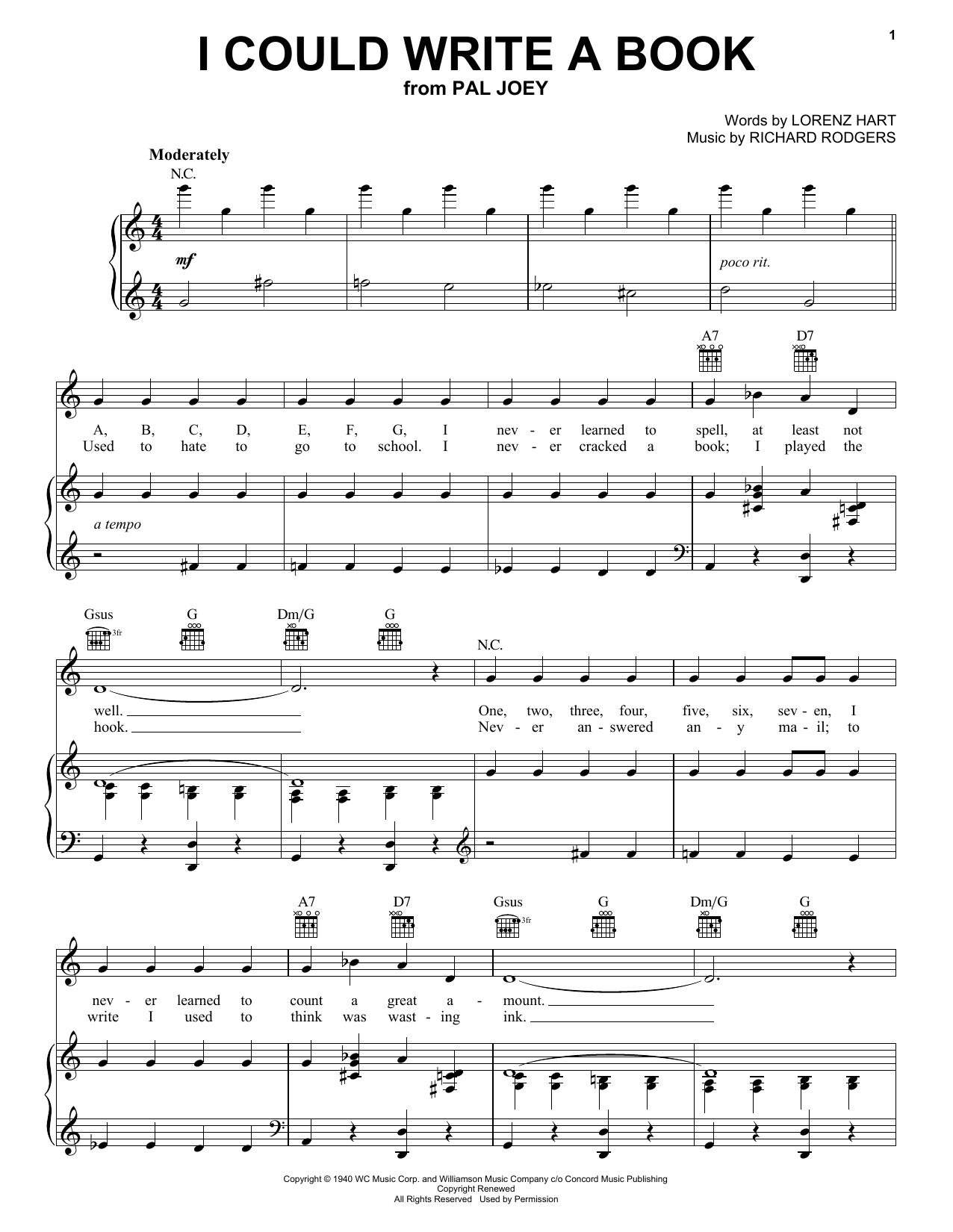 Rodgers & Hart I Could Write A Book sheet music preview music notes and score for Piano, Vocal & Guitar (Right-Hand Melody) including 4 page(s)