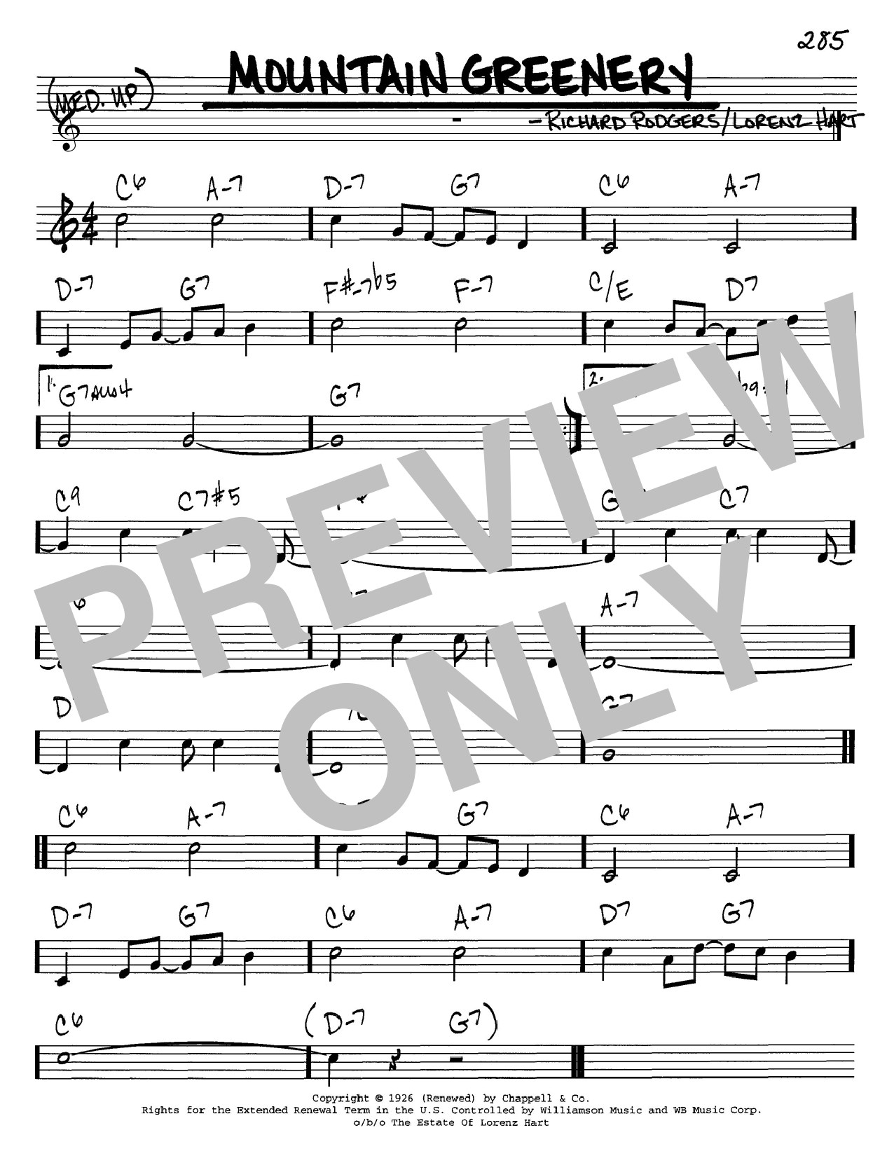 Rodgers & Hart Mountain Greenery sheet music preview music notes and score for Piano, Vocal & Guitar (Right-Hand Melody) including 7 page(s)