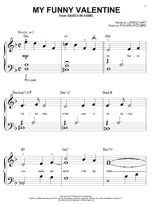 Download Rodgers & Hart 'My Funny Valentine' Digital Sheet Music Notes & Chords and start playing in minutes