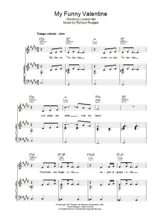 Rodgers & Hart My Funny Valentine sheet music preview music notes and score for Guitar Tab including 2 page(s)