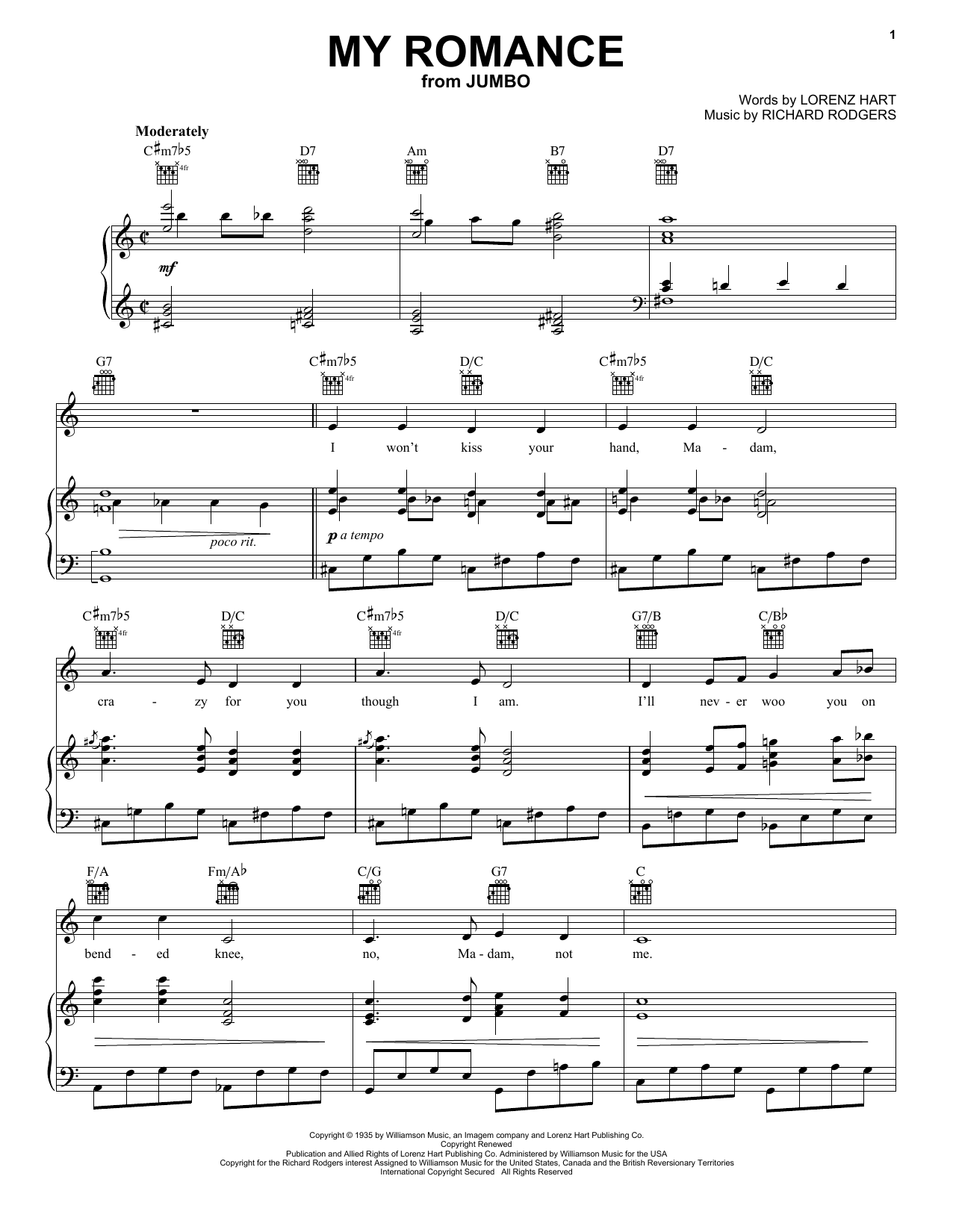 Rodgers & Hart My Romance sheet music preview music notes and score for Guitar Tab including 3 page(s)