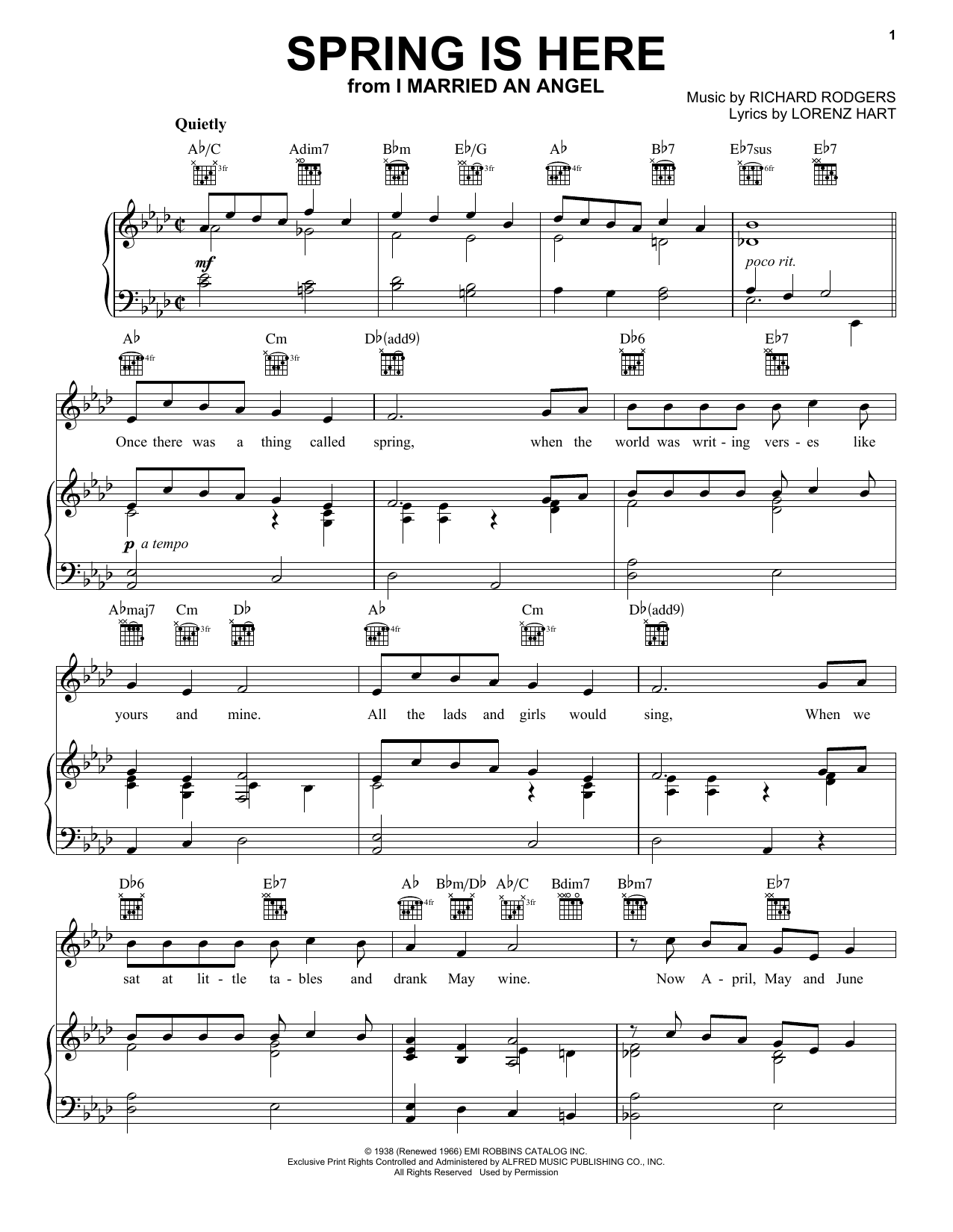 Rodgers & Hart Spring Is Here sheet music notes and chords