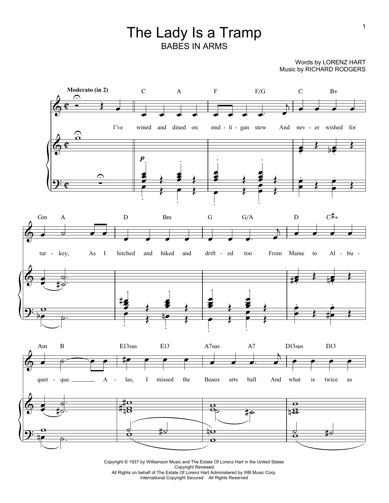 Rodgers & Hart The Lady Is A Tramp sheet music preview music notes and score for Guitar Tab including 2 page(s)