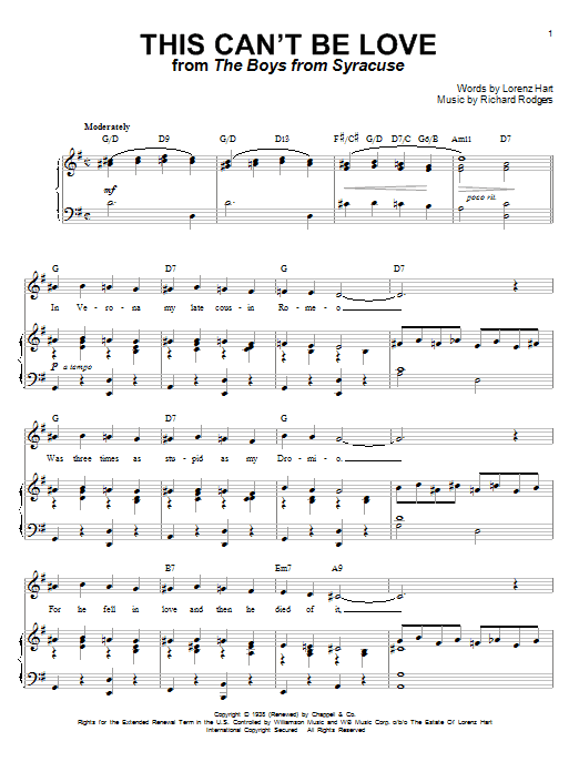 Rodgers & Hart This Can't Be Love sheet music preview music notes and score for Piano, Vocal & Guitar (Right-Hand Melody) including 4 page(s)