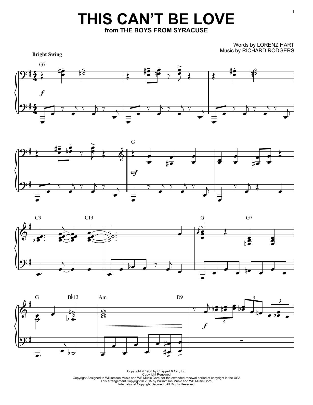 Rodgers & Hart This Can't Be Love sheet music notes and chords