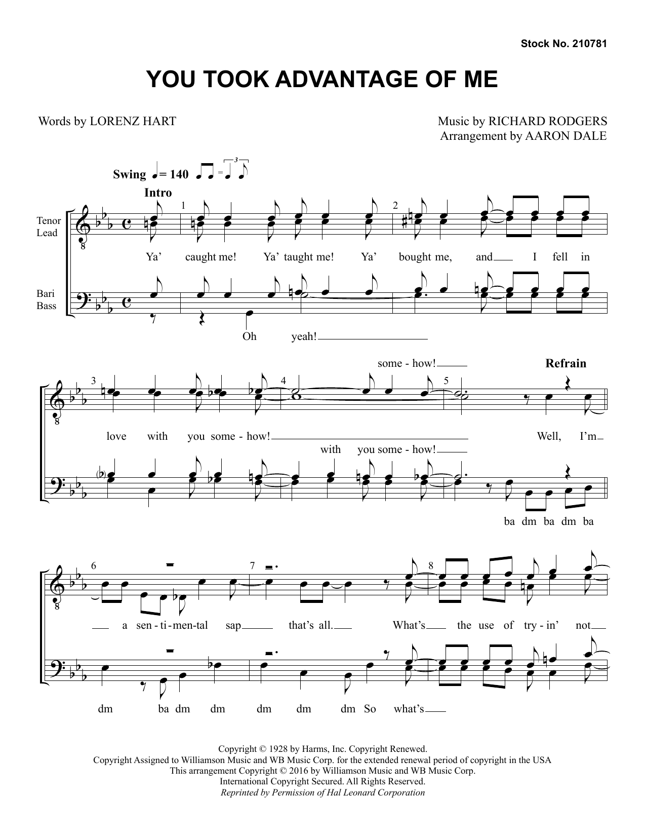 Rodgers & Hart You Took Advantage of Me (arr. Aaron Dale) sheet music preview music notes and score for TTBB Choir including 7 page(s)