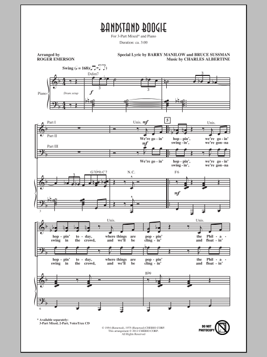 Roger Emerson Bandstand Boogie sheet music notes and chords