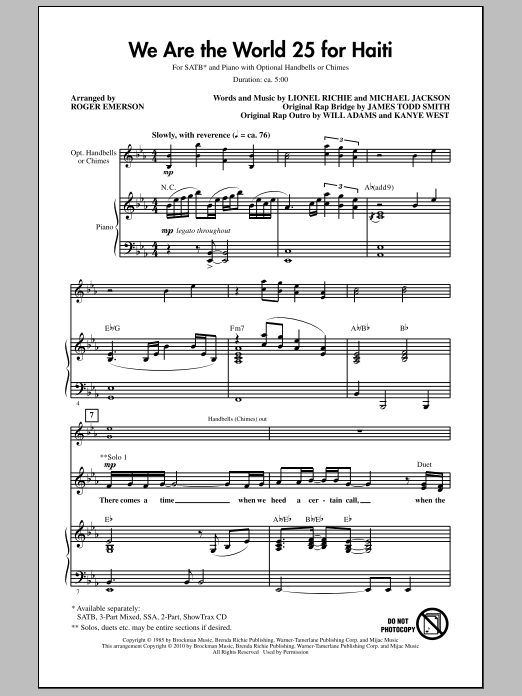 Download Roger Emerson 'We Are The World 25 For Haiti' Digital Sheet Music Notes & Chords and start playing in minutes
