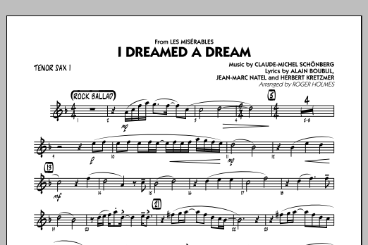 Roger Holmes I Dreamed a Dream (from Les Miserables) - Tenor Sax 1 sheet music notes and chords