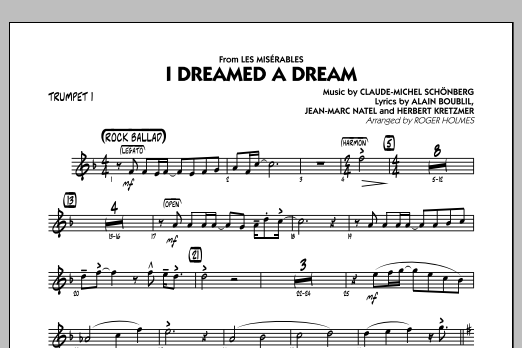 Roger Holmes I Dreamed a Dream (from Les Miserables) - Trumpet 1 sheet music notes and chords