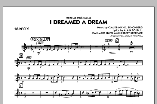 Roger Holmes I Dreamed a Dream (from Les Miserables) - Trumpet 2 sheet music notes and chords
