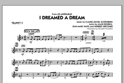 Roger Holmes I Dreamed a Dream (from Les Miserables) - Trumpet 3 sheet music notes and chords