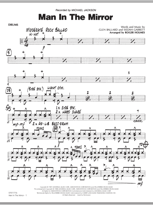 Roger Holmes Man In The Mirror - Drums sheet music preview music notes and score for Jazz Ensemble including 2 page(s)