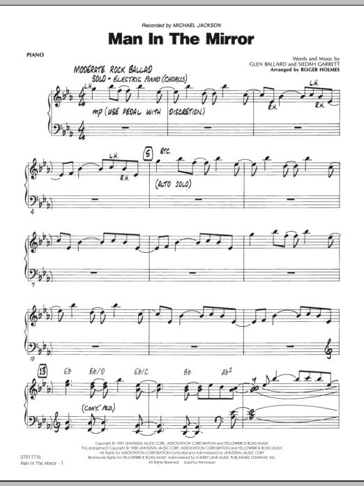 Roger Holmes Man In The Mirror - Piano sheet music preview music notes and score for Jazz Ensemble including 4 page(s)