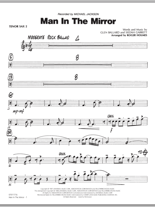 Roger Holmes Man In The Mirror - Tenor Sax 2 sheet music preview music notes and score for Jazz Ensemble including 2 page(s)