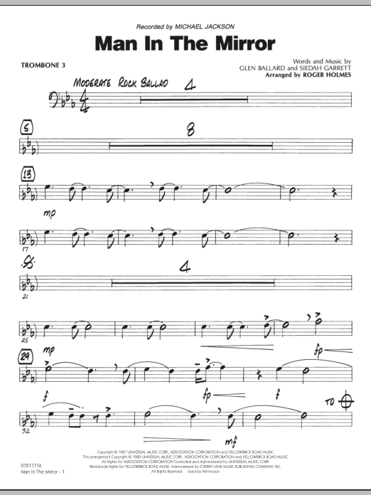 Roger Holmes Man In The Mirror - Trombone 3 sheet music preview music notes and score for Jazz Ensemble including 2 page(s)