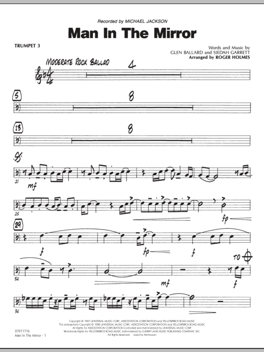 Roger Holmes Man In The Mirror - Trumpet 3 sheet music preview music notes and score for Jazz Ensemble including 2 page(s)