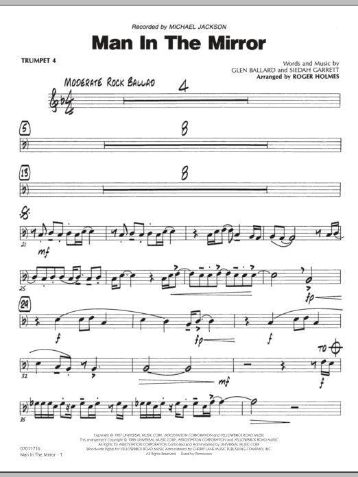Roger Holmes Man In The Mirror - Trumpet 4 sheet music preview music notes and score for Jazz Ensemble including 2 page(s)