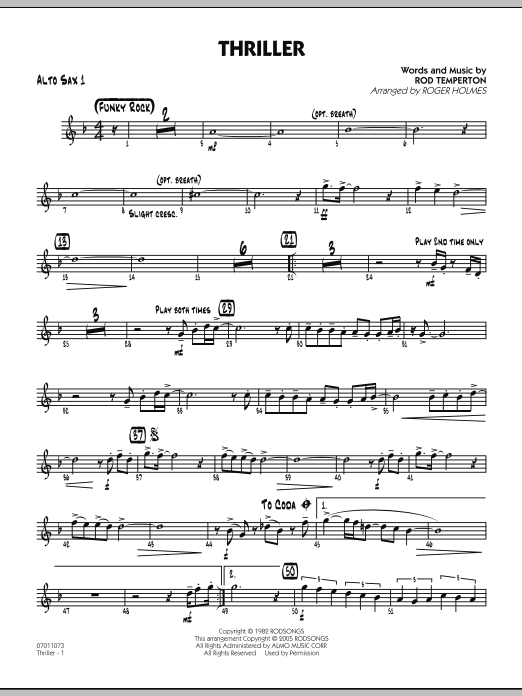 Roger Holmes Thriller - Alto Sax 1 sheet music preview music notes and score for Jazz Ensemble including 2 page(s)