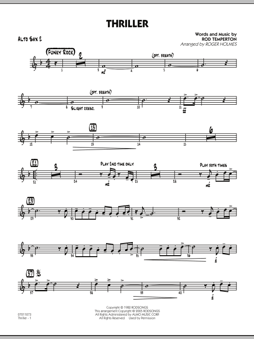 Roger Holmes Thriller - Alto Sax 2 sheet music preview music notes and score for Jazz Ensemble including 2 page(s)