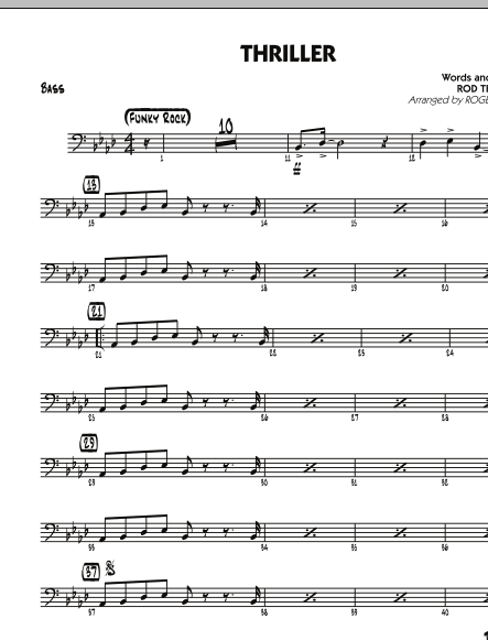 Roger Holmes Thriller - Bass sheet music preview music notes and score for Jazz Ensemble including 2 page(s)