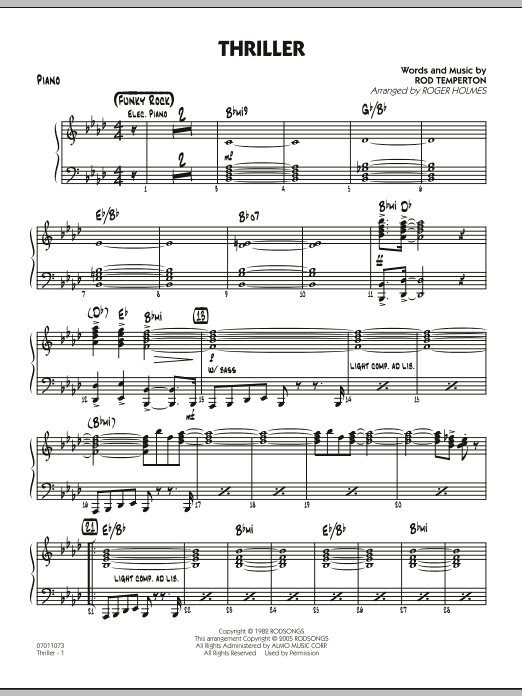 Roger Holmes Thriller - Piano sheet music preview music notes and score for Jazz Ensemble including 3 page(s)