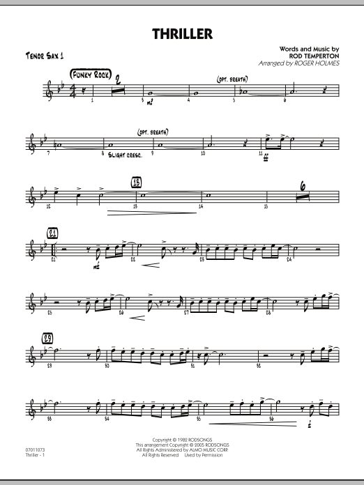 Roger Holmes Thriller - Tenor Sax 1 sheet music preview music notes and score for Jazz Ensemble including 2 page(s)
