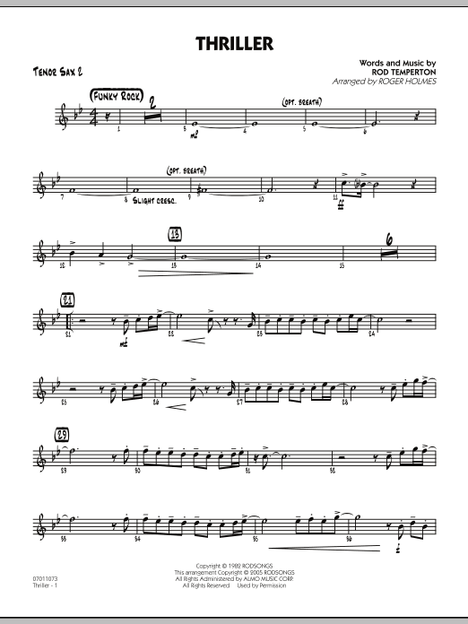 Roger Holmes Thriller - Tenor Sax 2 sheet music preview music notes and score for Jazz Ensemble including 2 page(s)