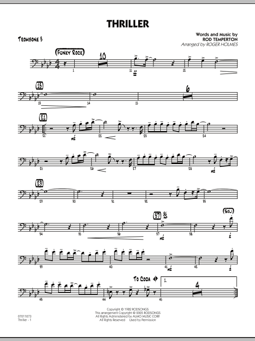 Roger Holmes Thriller - Trombone 3 sheet music preview music notes and score for Jazz Ensemble including 2 page(s)