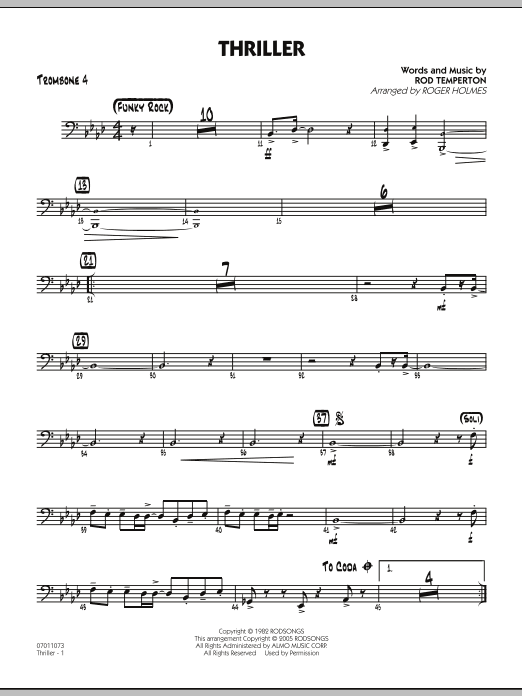 Roger Holmes Thriller - Trombone 4 sheet music preview music notes and score for Jazz Ensemble including 2 page(s)