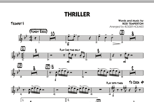 Roger Holmes Thriller - Trumpet 3 sheet music preview music notes and score for Jazz Ensemble including 1 page(s)