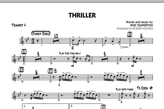 Roger Holmes Thriller - Trumpet 4 sheet music preview music notes and score for Jazz Ensemble including 1 page(s)