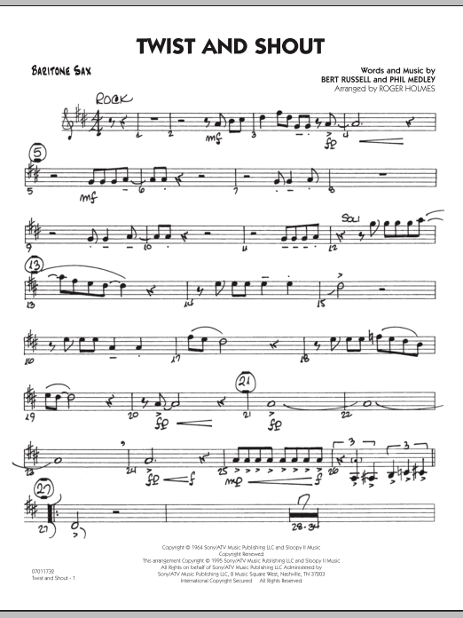 Roger Holmes Twist And Shout - Baritone Sax sheet music preview music notes and score for Jazz Ensemble including 2 page(s)