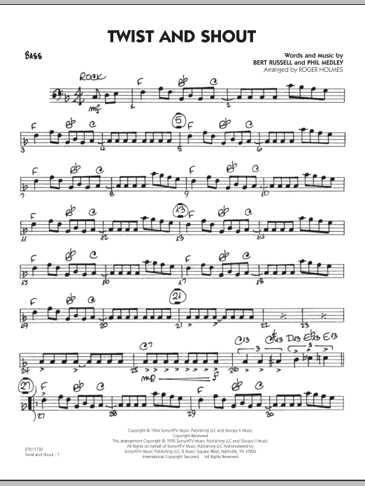 Roger Holmes Twist And Shout - Bass sheet music preview music notes and score for Jazz Ensemble including 2 page(s)