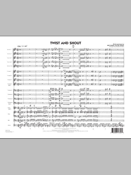 Roger Holmes Twist And Shout - Full Score sheet music preview music notes and score for Jazz Ensemble including 8 page(s)