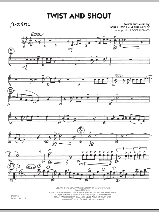 Roger Holmes Twist And Shout - Tenor Sax 1 sheet music preview music notes and score for Jazz Ensemble including 2 page(s)