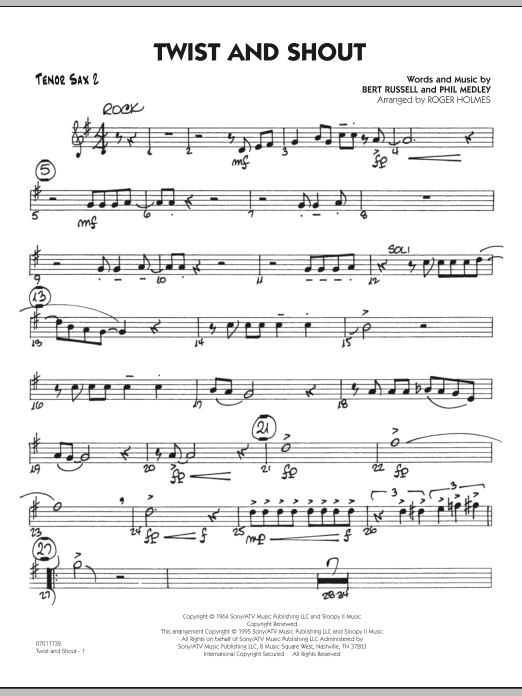 Roger Holmes Twist And Shout - Tenor Sax 2 sheet music preview music notes and score for Jazz Ensemble including 2 page(s)