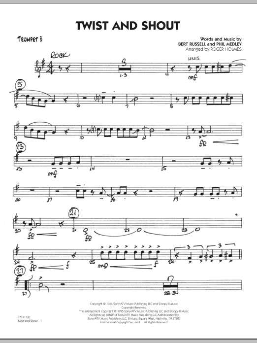 Roger Holmes Twist And Shout - Trumpet 3 sheet music preview music notes and score for Jazz Ensemble including 2 page(s)