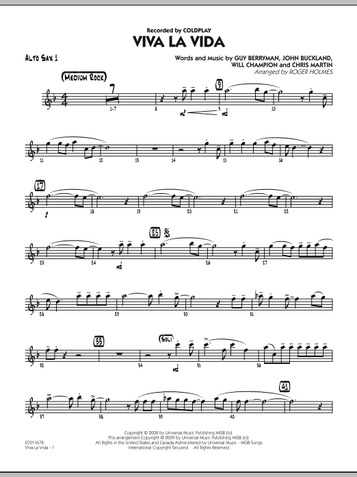 Roger Holmes Viva La Vida - Alto Sax 1 sheet music preview music notes and score for Jazz Ensemble including 2 page(s)