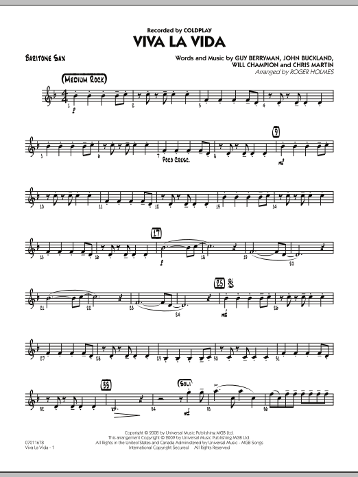 Roger Holmes Viva La Vida - Baritone Sax sheet music preview music notes and score for Jazz Ensemble including 2 page(s)