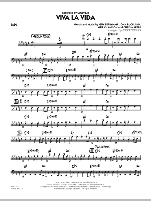 Roger Holmes Viva La Vida - Bass sheet music preview music notes and score for Jazz Ensemble including 2 page(s)