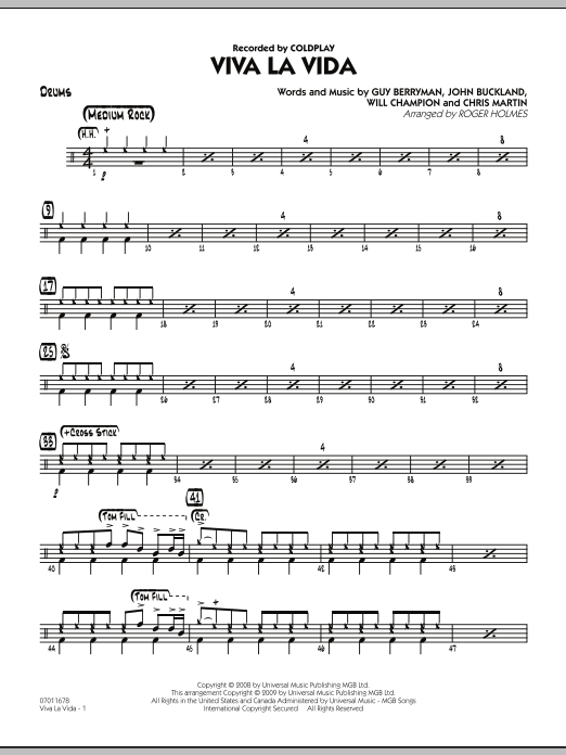 Roger Holmes Viva La Vida - Drums sheet music preview music notes and score for Jazz Ensemble including 2 page(s)