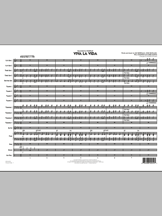 Roger Holmes Viva La Vida - Full Score sheet music preview music notes and score for Jazz Ensemble including 12 page(s)