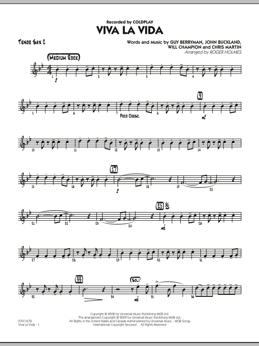 Roger Holmes Viva La Vida - Tenor Sax 2 sheet music preview music notes and score for Jazz Ensemble including 2 page(s)