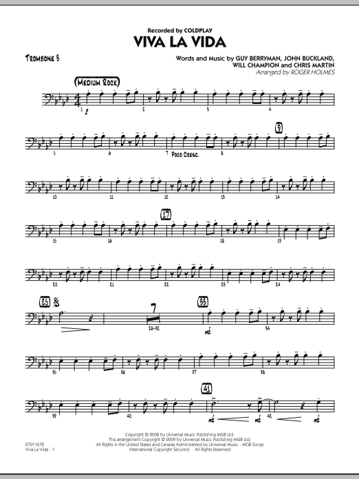 Roger Holmes Viva La Vida - Trombone 3 sheet music preview music notes and score for Jazz Ensemble including 2 page(s)
