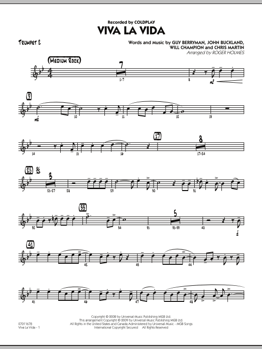 Roger Holmes Viva La Vida - Trumpet 2 sheet music preview music notes and score for Jazz Ensemble including 2 page(s)