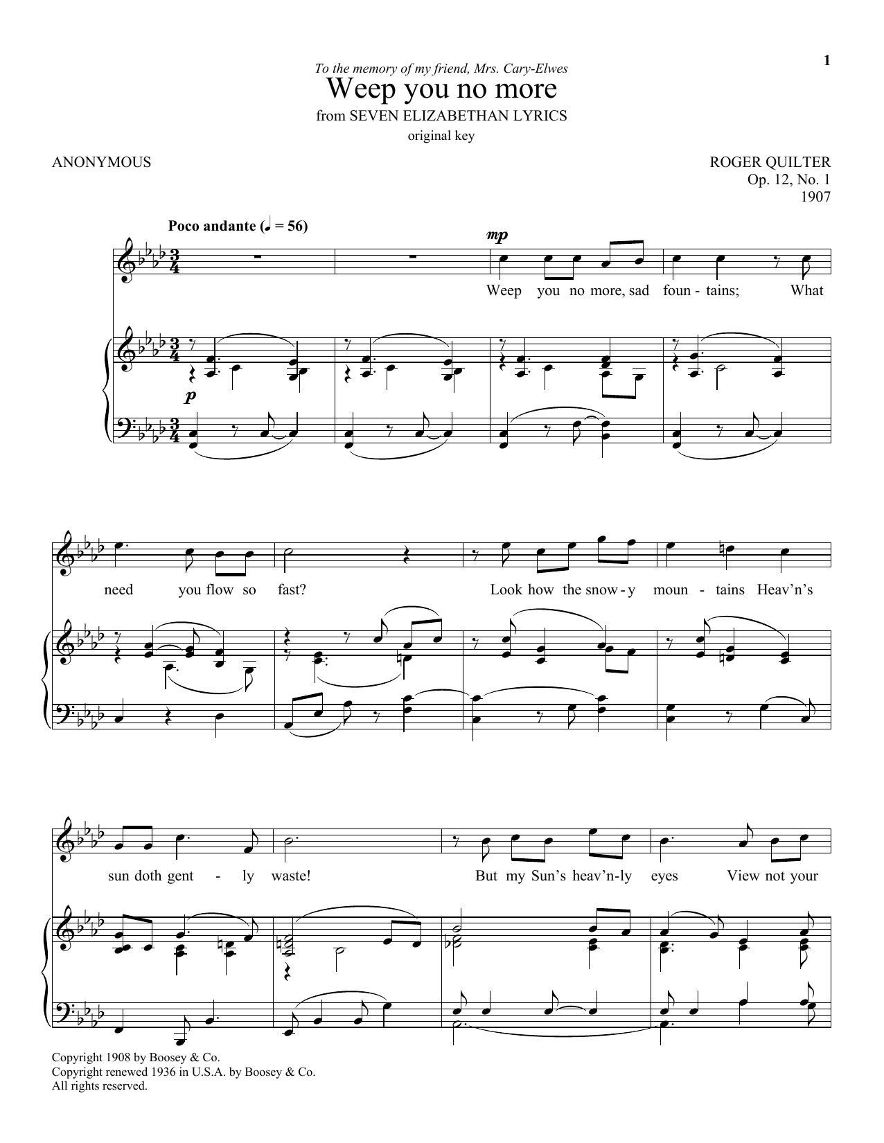 Roger Quilter Weep You No More sheet music preview music notes and score for Piano, Vocal & Guitar (Right-Hand Melody) including 3 page(s)