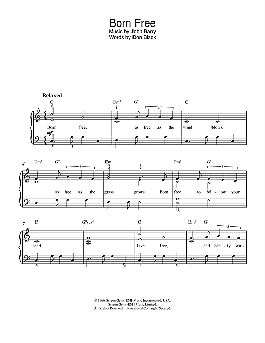 Roger Williams Born Free sheet music notes and chords